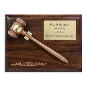 "Gavel Plaque - Walnut 9""x12"""